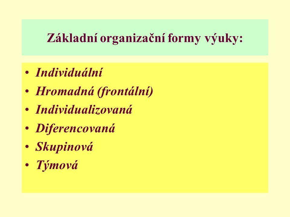 Základní organizační formy výuky: