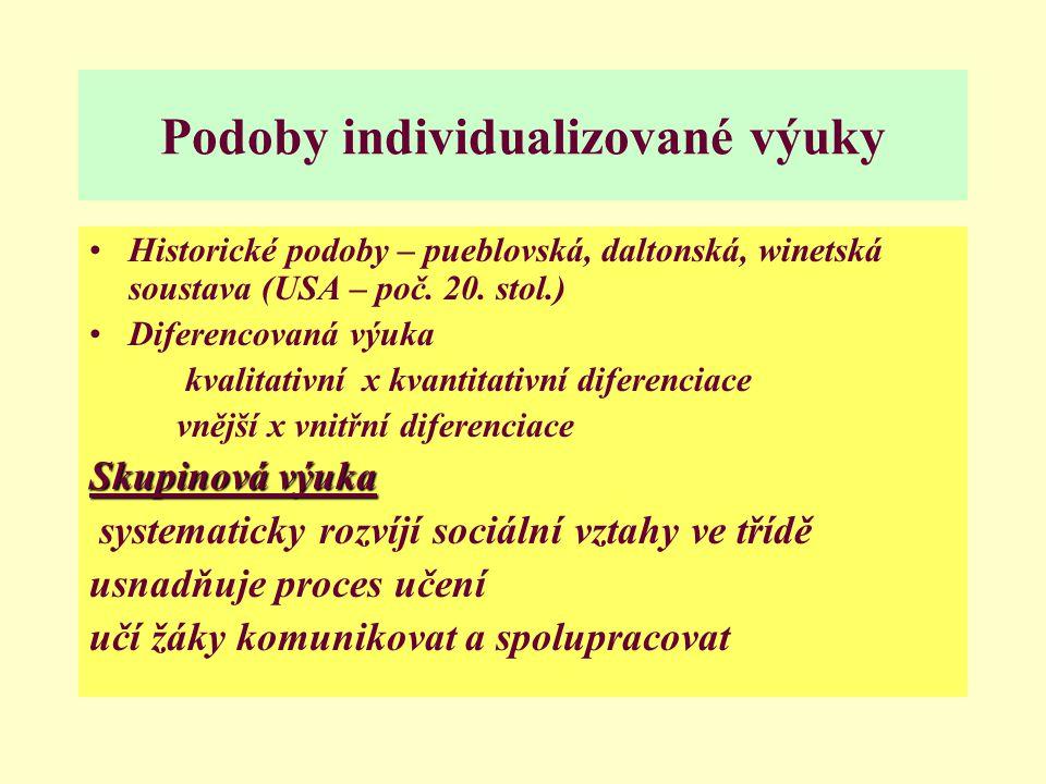 Podoby individualizované výuky