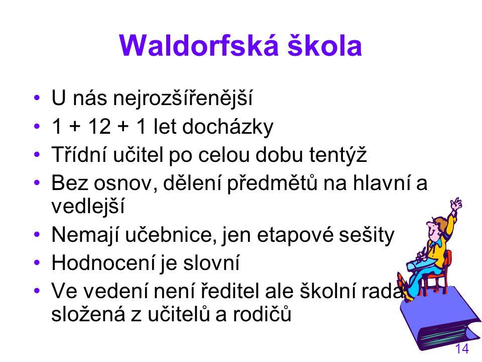 Waldorfská škola U nás nejrozšířenější 1 + 12 + 1 let docházky