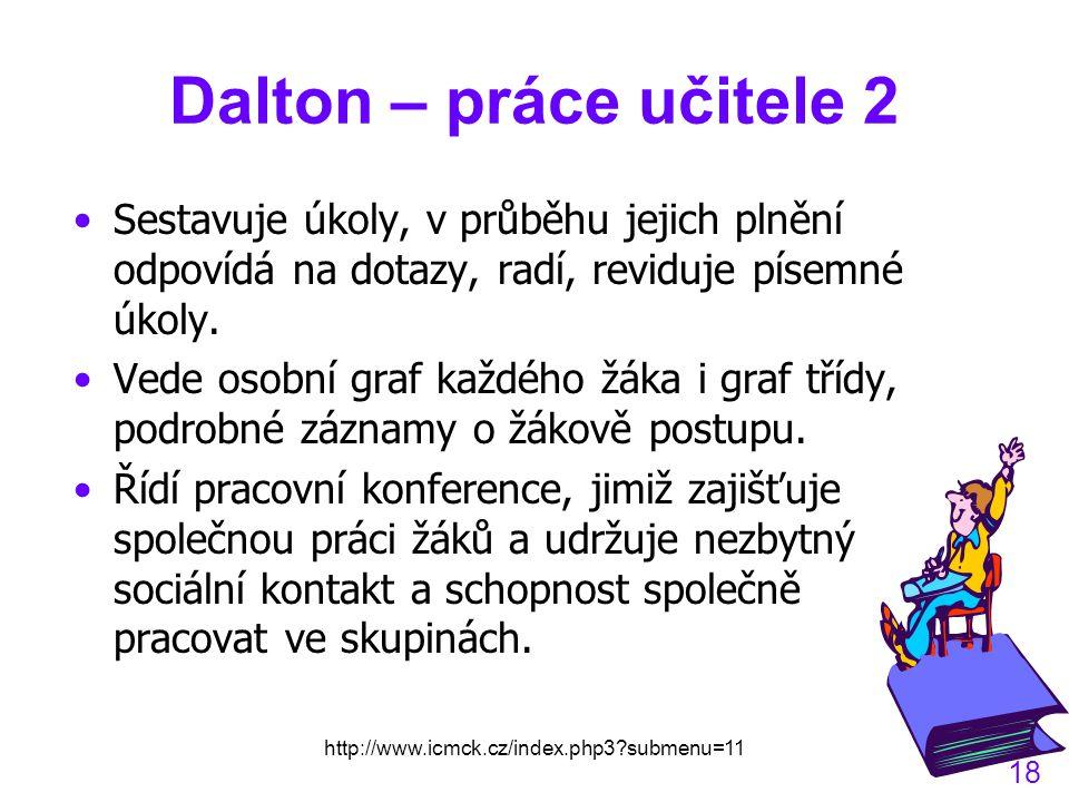 Dalton – práce učitele 2 Sestavuje úkoly, v průběhu jejich plnění odpovídá na dotazy, radí, reviduje písemné úkoly.