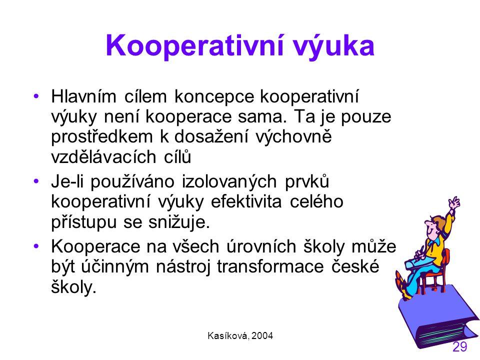 Kooperativní výuka Hlavním cílem koncepce kooperativní výuky není kooperace sama. Ta je pouze prostředkem k dosažení výchovně vzdělávacích cílů.