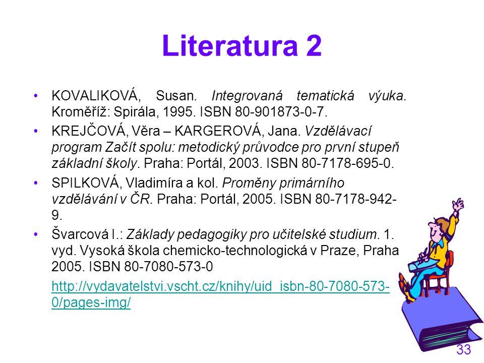 Literatura 2 KOVALIKOVÁ, Susan. Integrovaná tematická výuka. Kroměříž: Spirála, 1995. ISBN 80-901873-0-7.