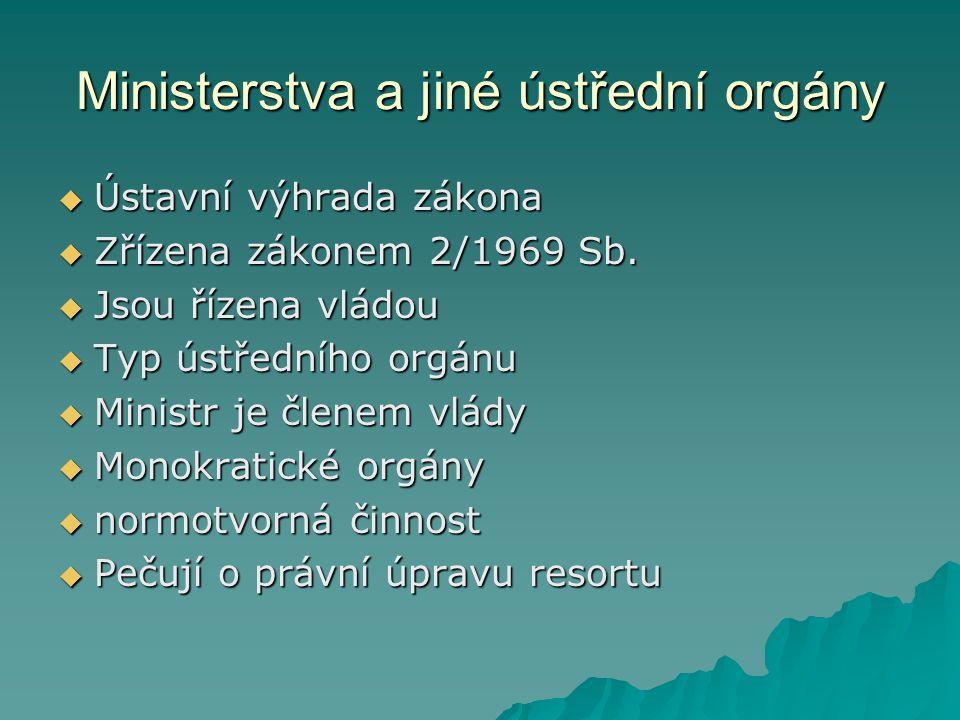 Ministerstva a jiné ústřední orgány