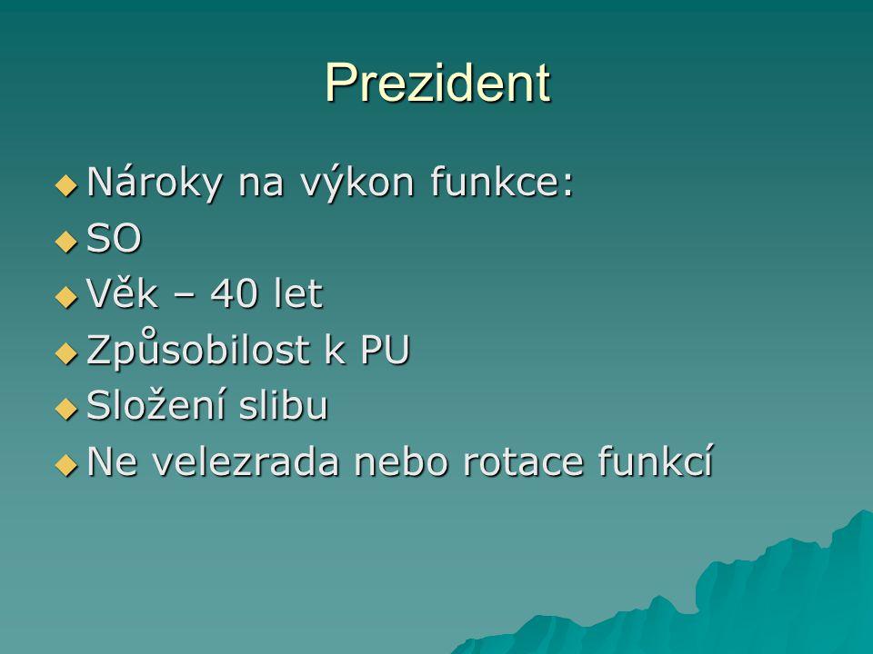 Prezident Nároky na výkon funkce: SO Věk – 40 let Způsobilost k PU