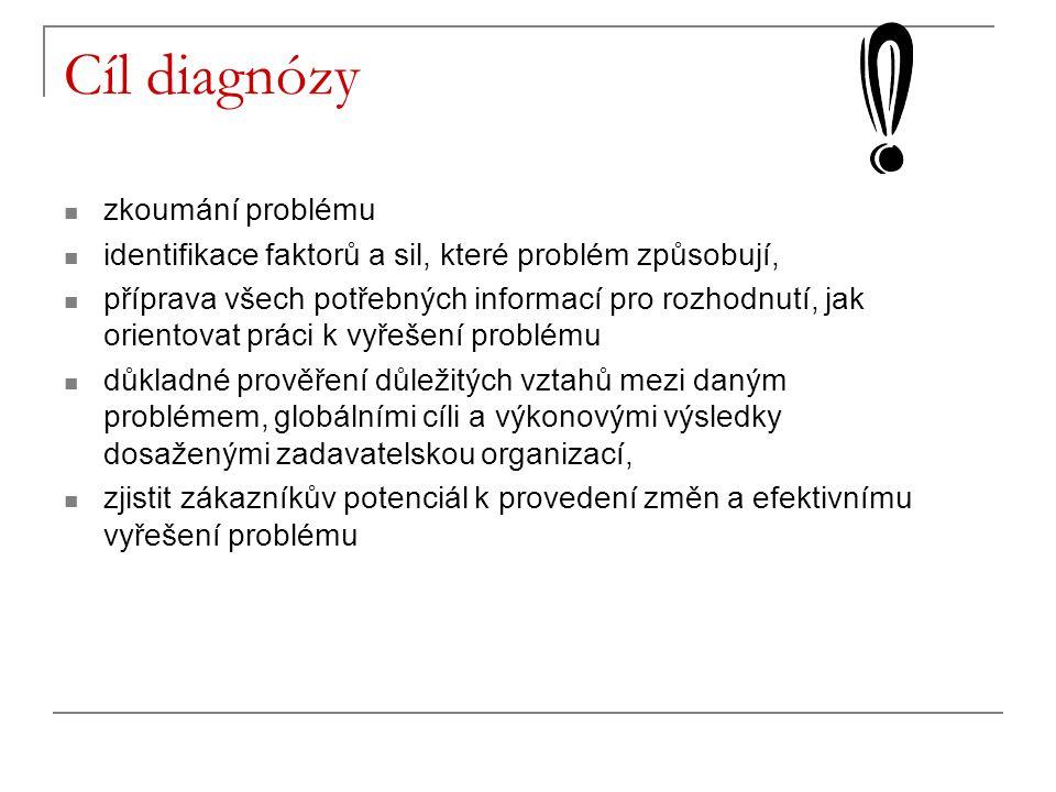 Cíl diagnózy zkoumání problému