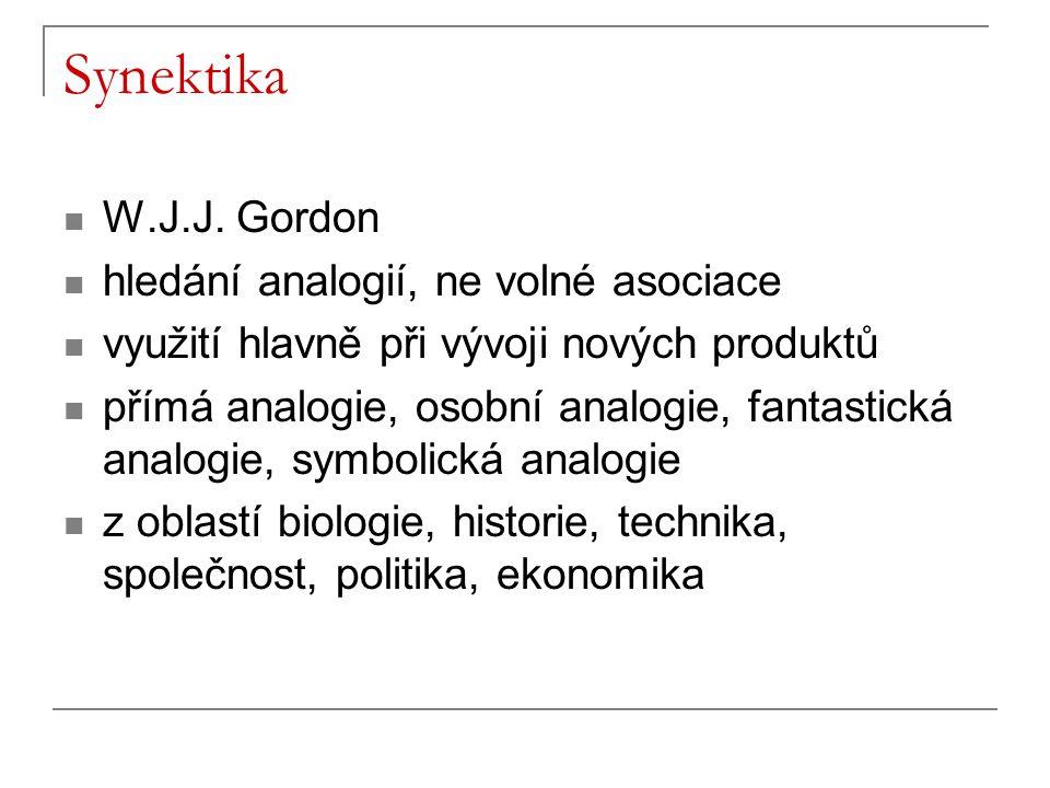 Synektika W.J.J. Gordon hledání analogií, ne volné asociace