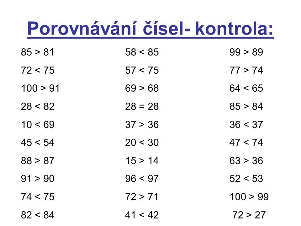 Porovnávání čísel- kontrola: