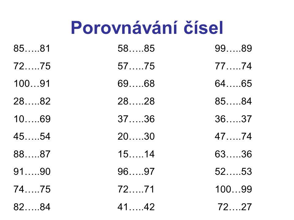 Porovnávání čísel 85…..81 72…..75 100…91 28…..82 10…..69 45…..54