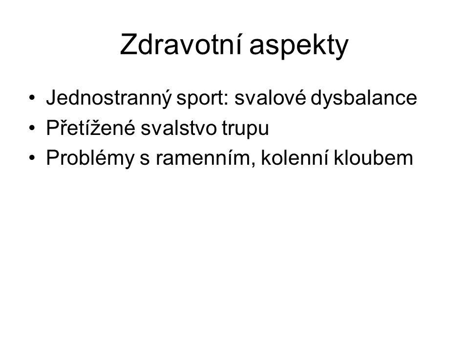 Zdravotní aspekty Jednostranný sport: svalové dysbalance