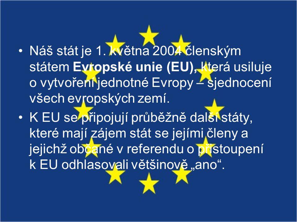 Náš stát je 1. května 2004 členským státem Evropské unie (EU), která usiluje o vytvoření jednotné Evropy – sjednocení všech evropských zemí.