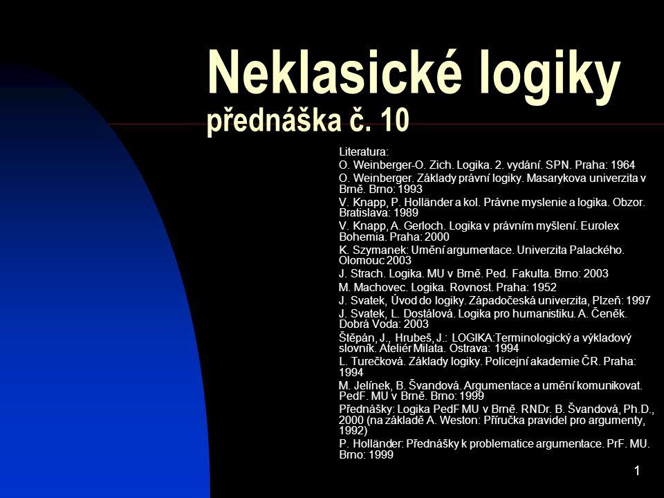Neklasické logiky přednáška č. 10