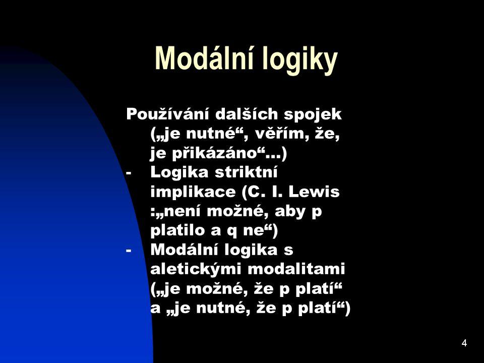 """Modální logiky Používání dalších spojek (""""je nutné , věřím, že, je přikázáno …)"""