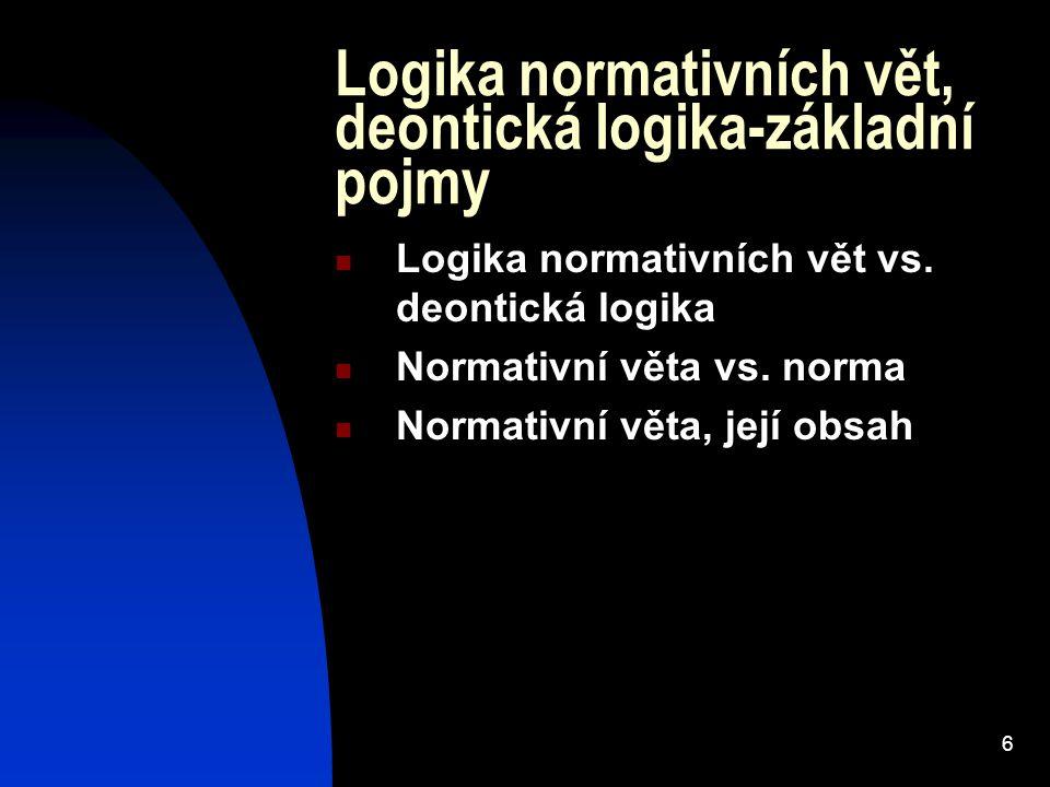 Logika normativních vět, deontická logika-základní pojmy