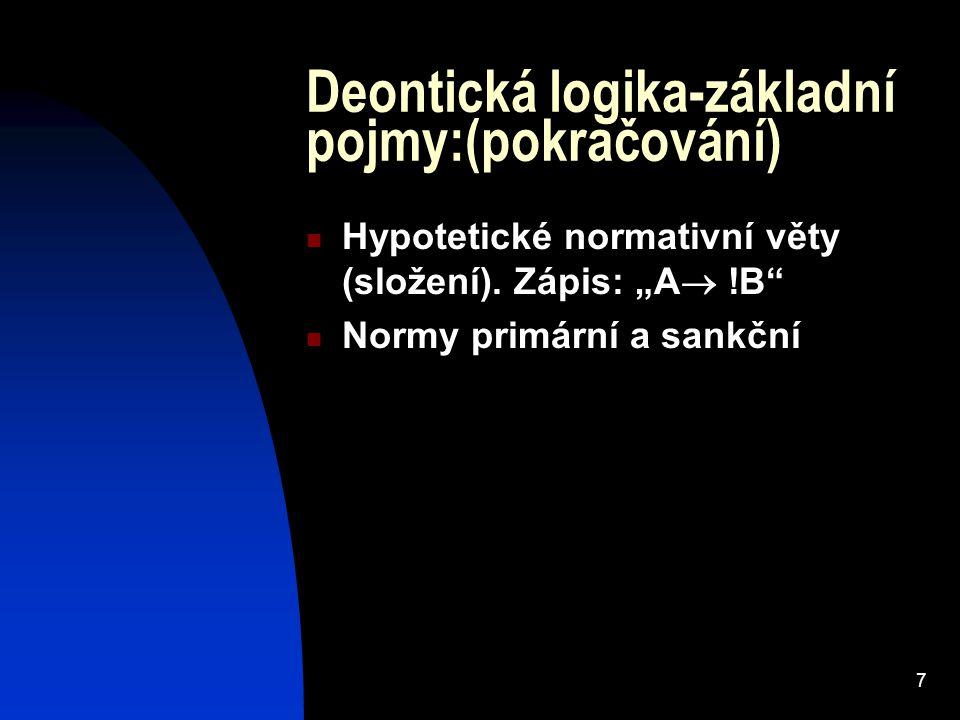 Deontická logika-základní pojmy:(pokračování)