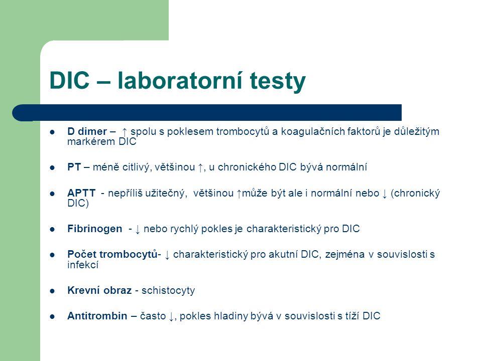 DIC – laboratorní testy