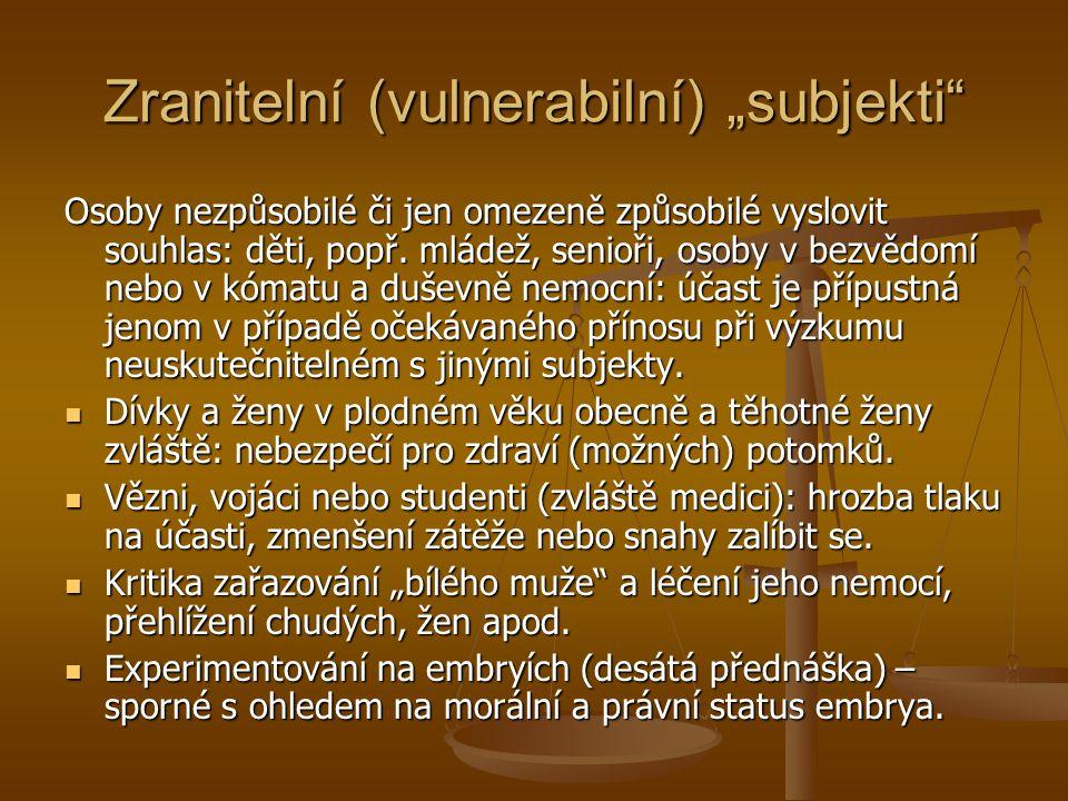 """Zranitelní (vulnerabilní) """"subjekti"""