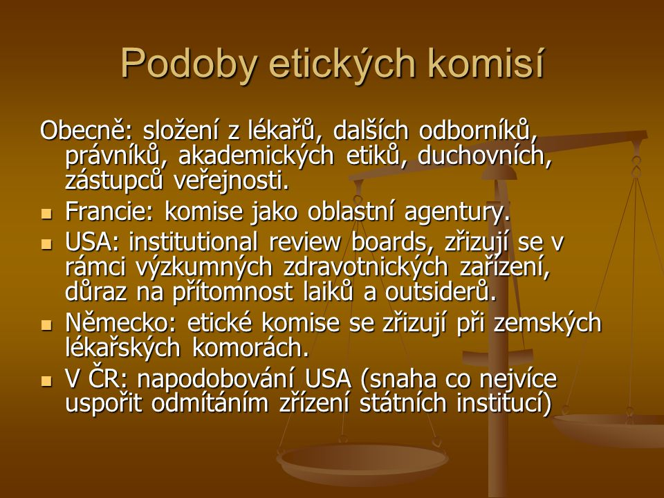 Podoby etických komisí