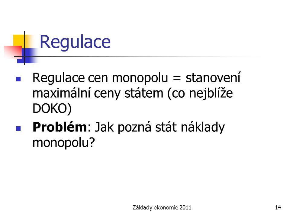 Regulace Regulace cen monopolu = stanovení maximální ceny státem (co nejblíže DOKO) Problém: Jak pozná stát náklady monopolu