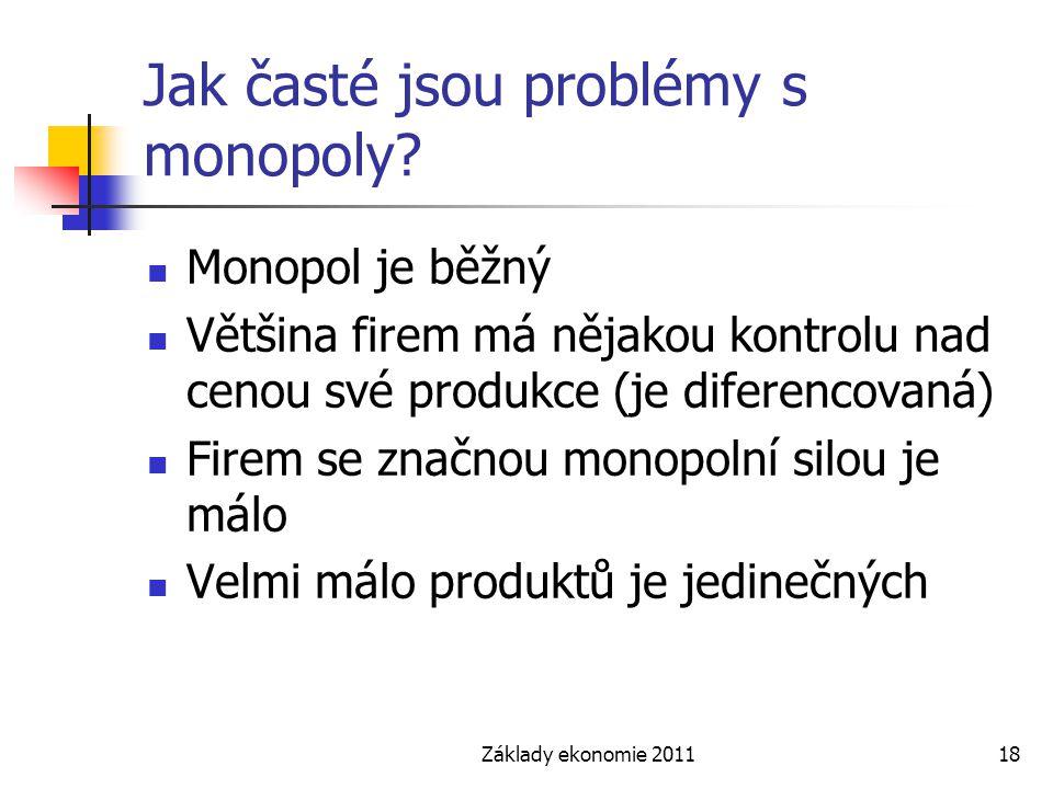 Jak časté jsou problémy s monopoly