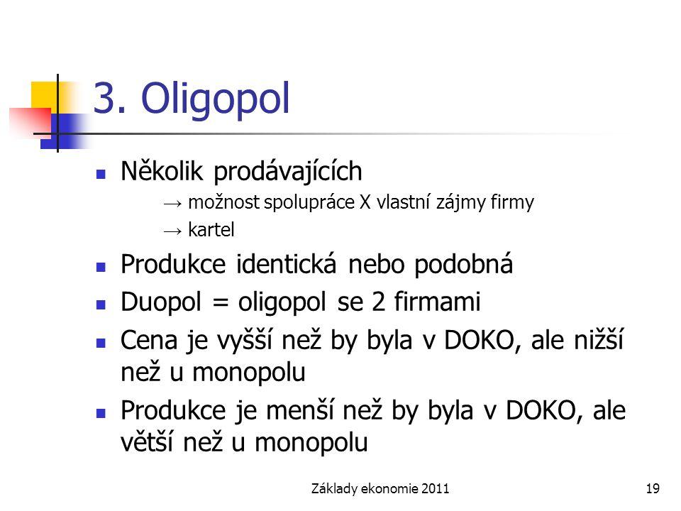 3. Oligopol Několik prodávajících Produkce identická nebo podobná