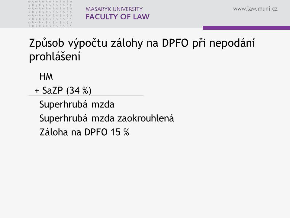 Způsob výpočtu zálohy na DPFO při nepodání prohlášení