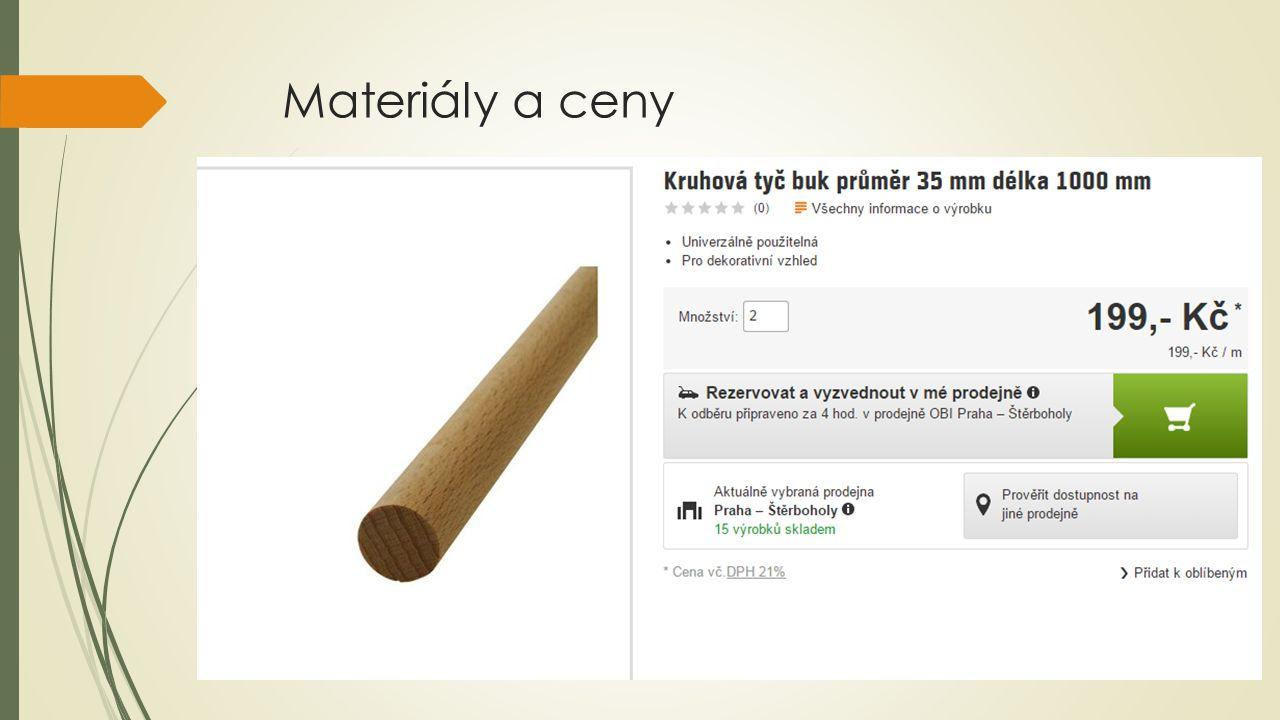 Materiály a ceny
