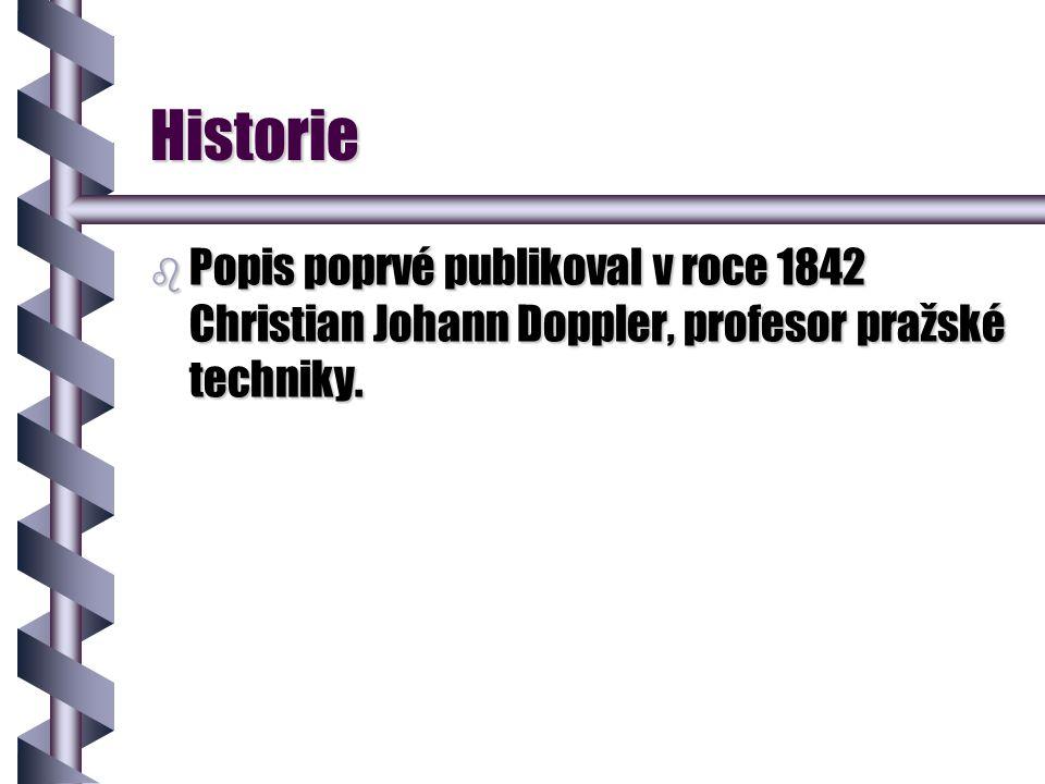 Historie Popis poprvé publikoval v roce 1842 Christian Johann Doppler, profesor pražské techniky.