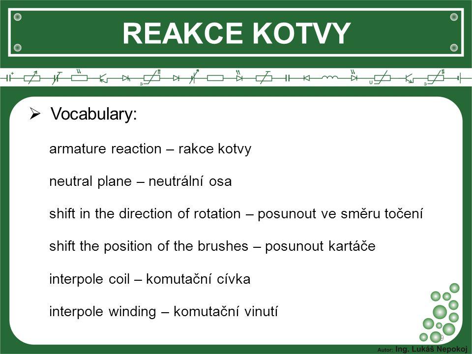 REAKCE KOTVY Vocabulary: armature reaction – rakce kotvy