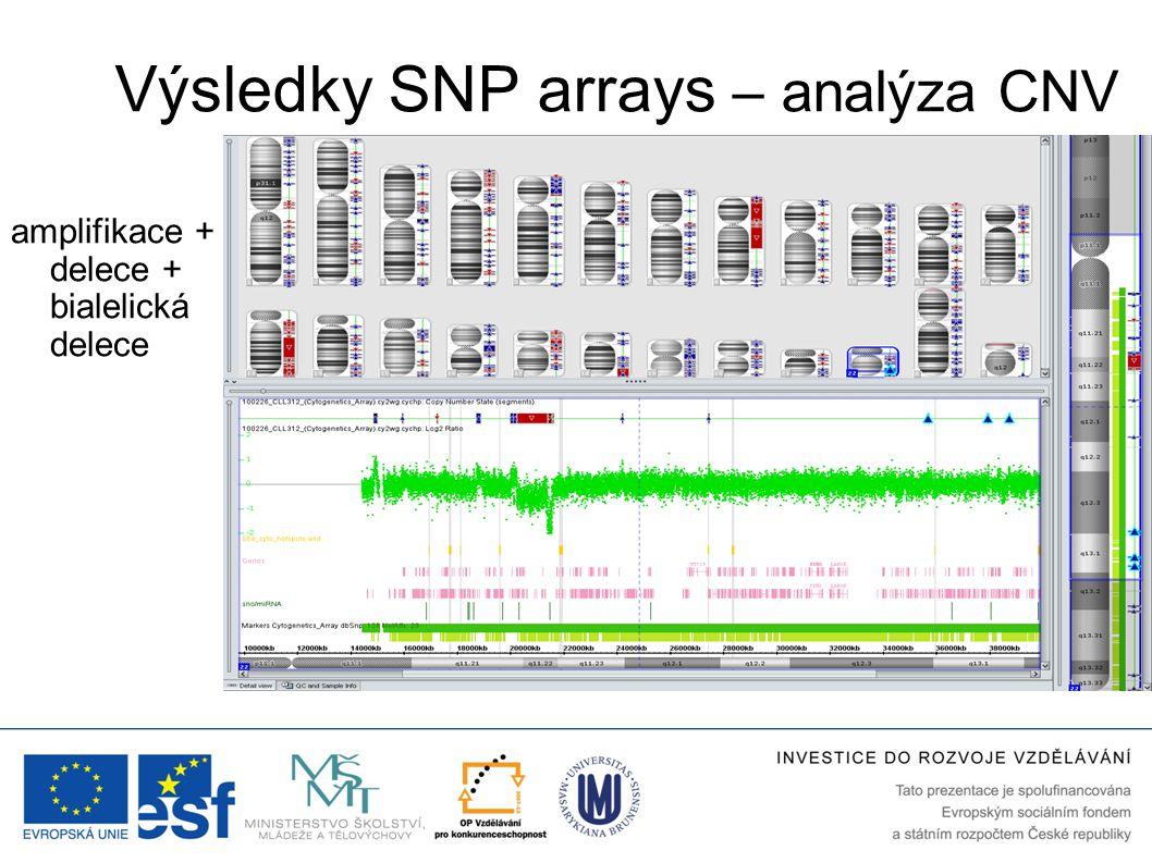 Výsledky SNP arrays – analýza CNV