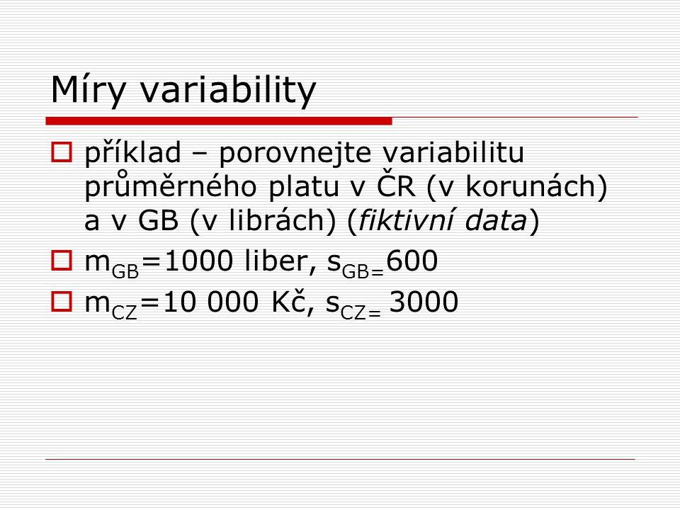Míry variability příklad – porovnejte variabilitu průměrného platu v ČR (v korunách) a v GB (v librách) (fiktivní data)