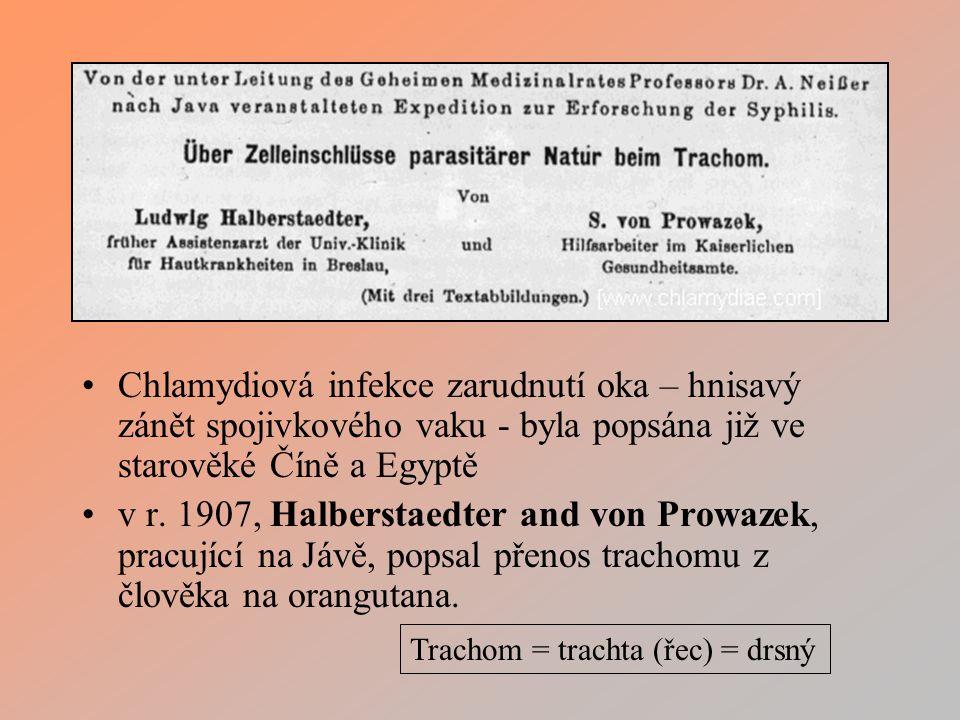 Chlamydiová infekce zarudnutí oka – hnisavý zánět spojivkového vaku - byla popsána již ve starověké Číně a Egyptě