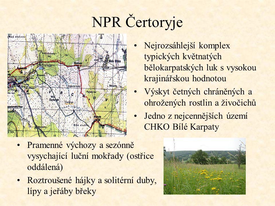 NPR Čertoryje Nejrozsáhlejší komplex typických květnatých bělokarpatských luk s vysokou krajinářskou hodnotou.