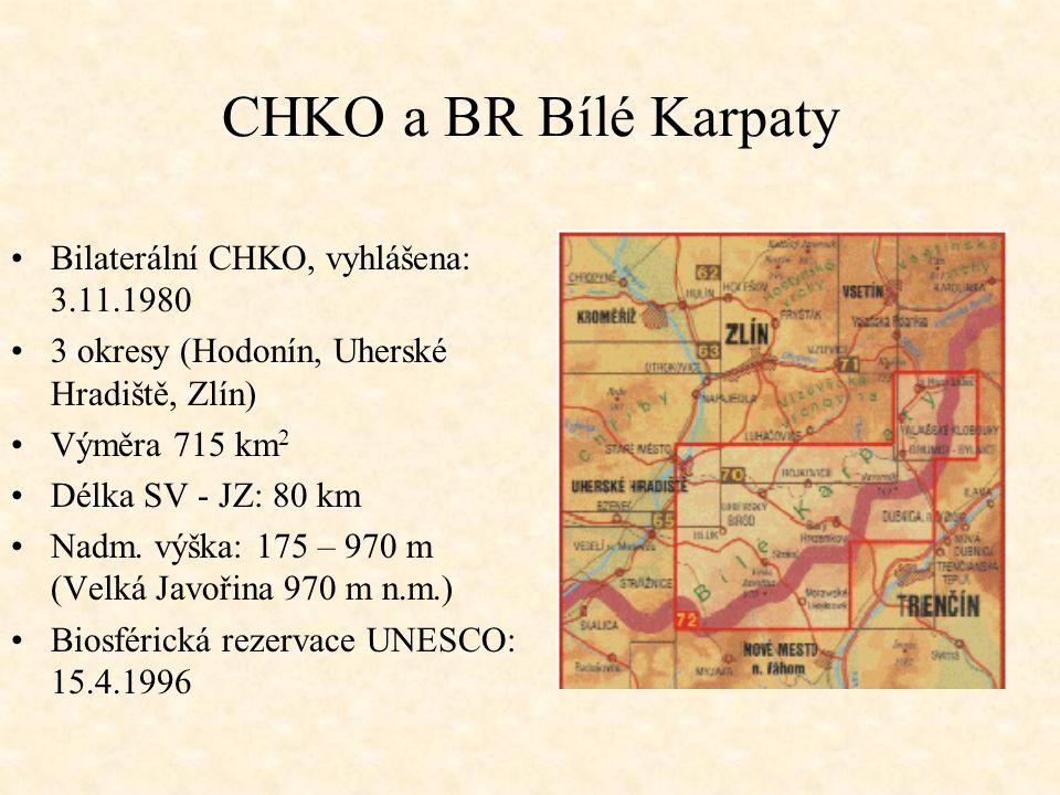 CHKO a BR Bílé Karpaty Bilaterální CHKO, vyhlášena: 3.11.1980