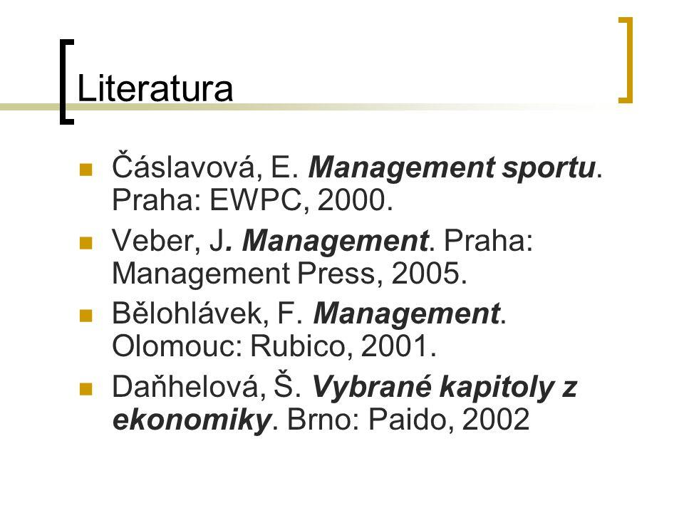 Literatura Čáslavová, E. Management sportu. Praha: EWPC, 2000.