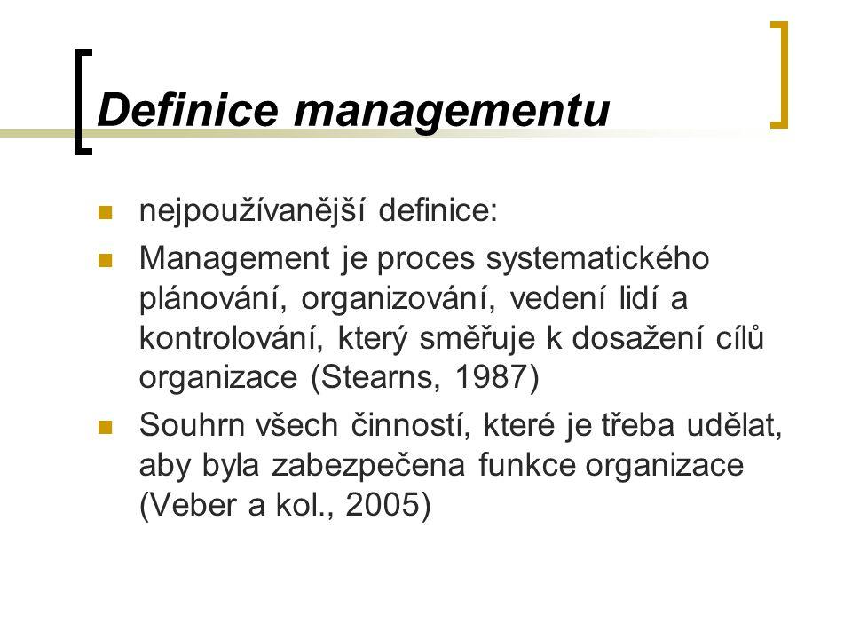 Definice managementu nejpoužívanější definice: