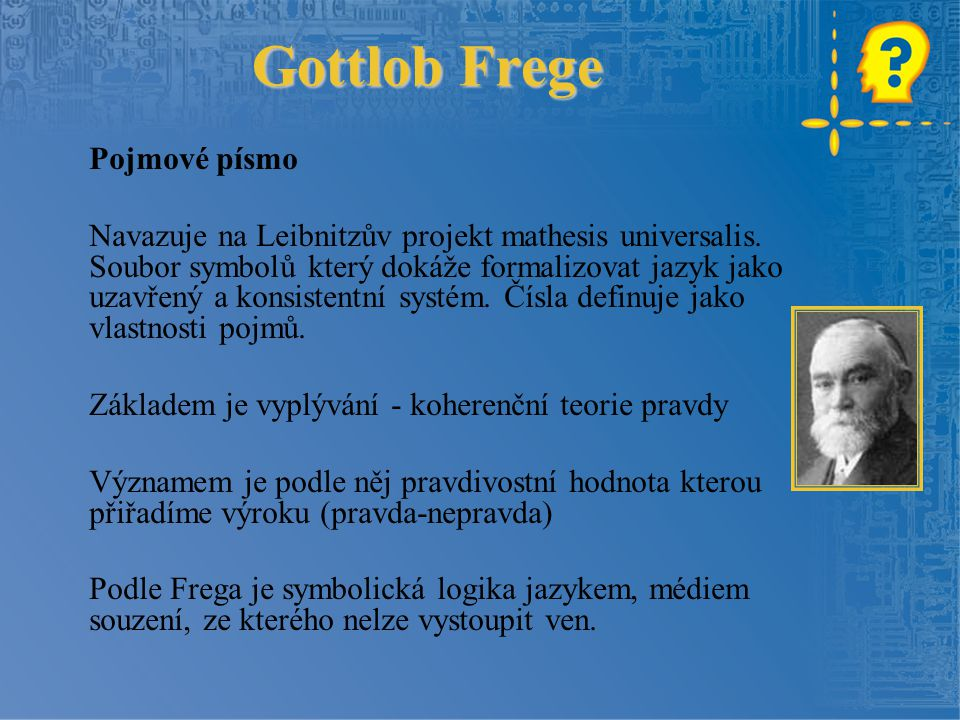 Gottlob Frege Pojmové písmo
