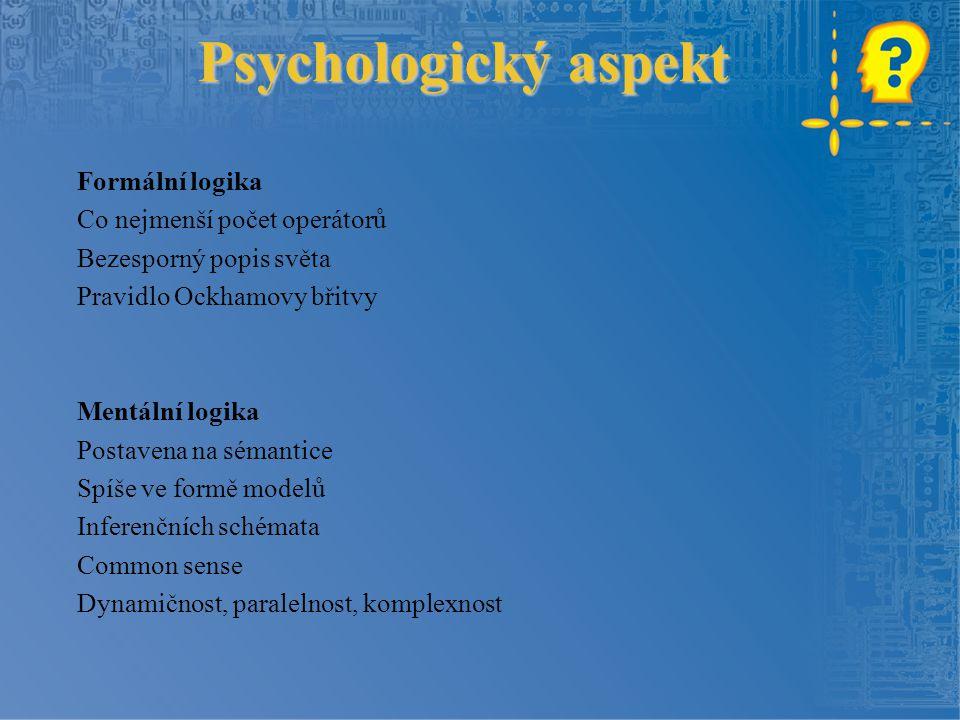 Psychologický aspekt Formální logika Co nejmenší počet operátorů