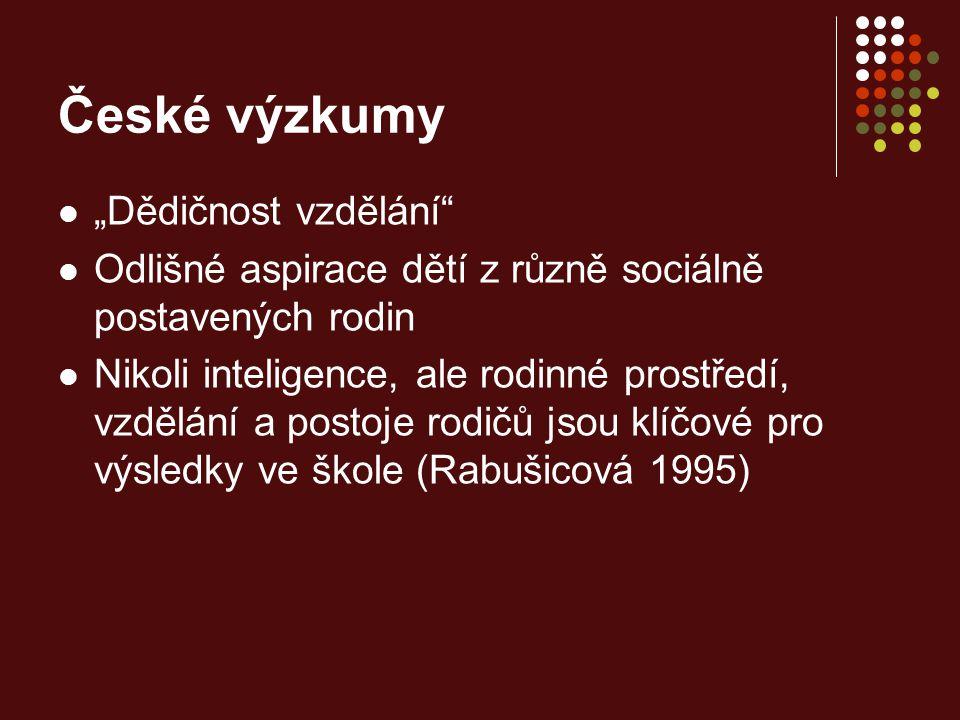 """České výzkumy """"Dědičnost vzdělání"""