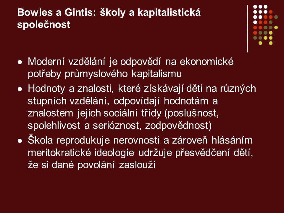 Bowles a Gintis: školy a kapitalistická společnost