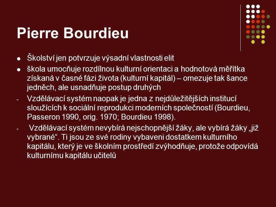 Pierre Bourdieu Školství jen potvrzuje výsadní vlastnosti elit