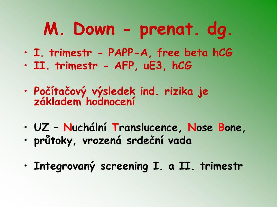 M. Down - prenat. dg. I. trimestr - PAPP-A, free beta hCG