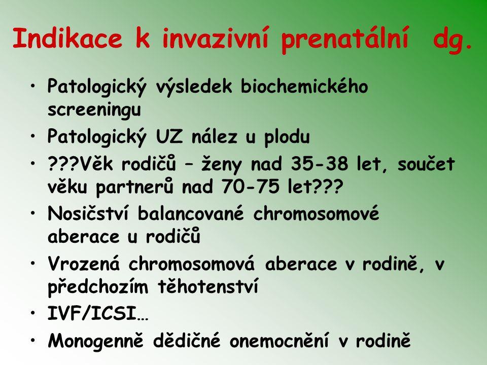 Indikace k invazivní prenatální dg.