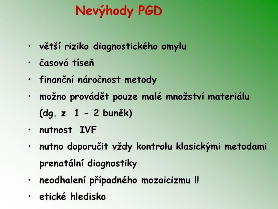 Nevýhody PGD větší riziko diagnostického omylu časová tíseň