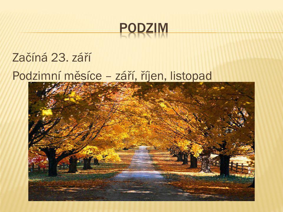 podzim Začíná 23. září Podzimní měsíce – září, říjen, listopad