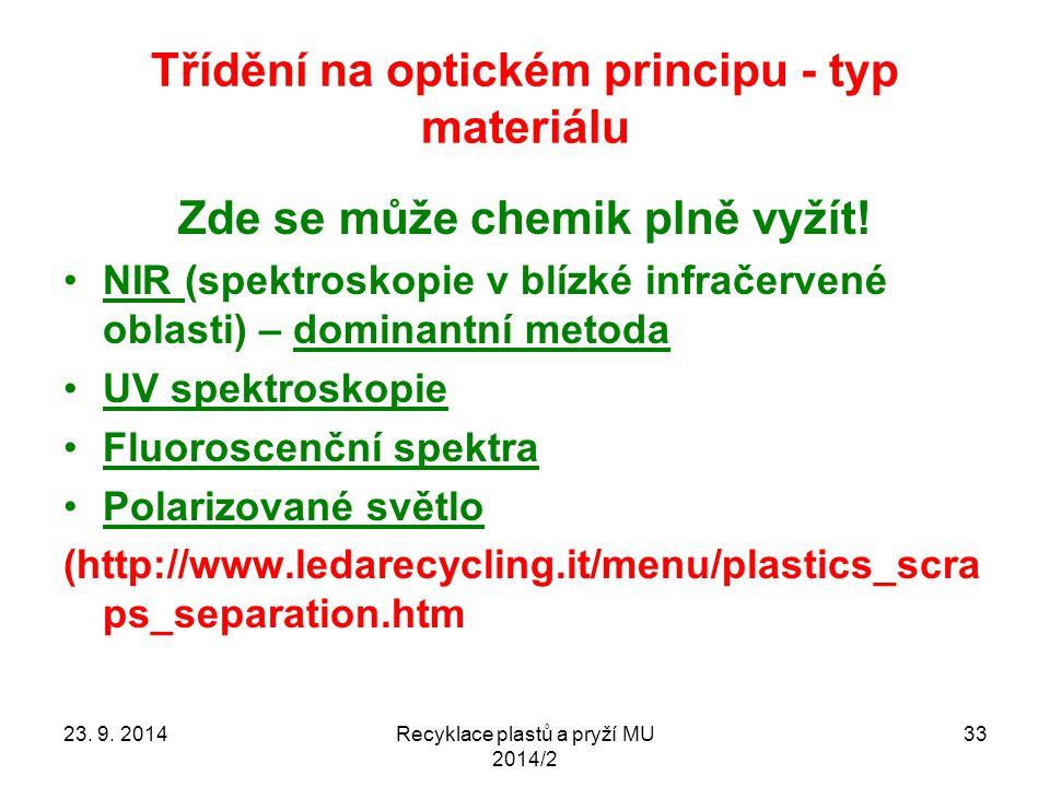 Třídění na optickém principu - typ materiálu