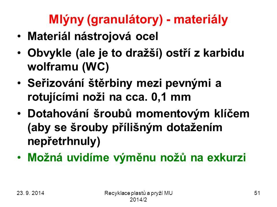 Mlýny (granulátory) - materiály