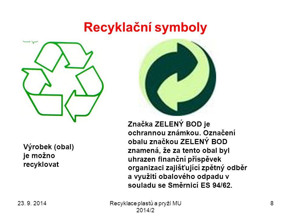Recyklace plastů a pryží MU 2014/2