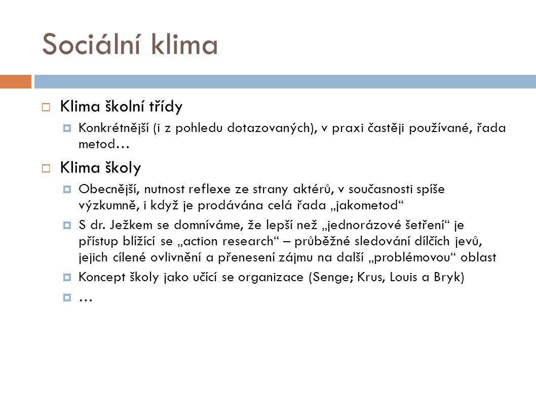 Sociální klima Klima školní třídy Klima školy