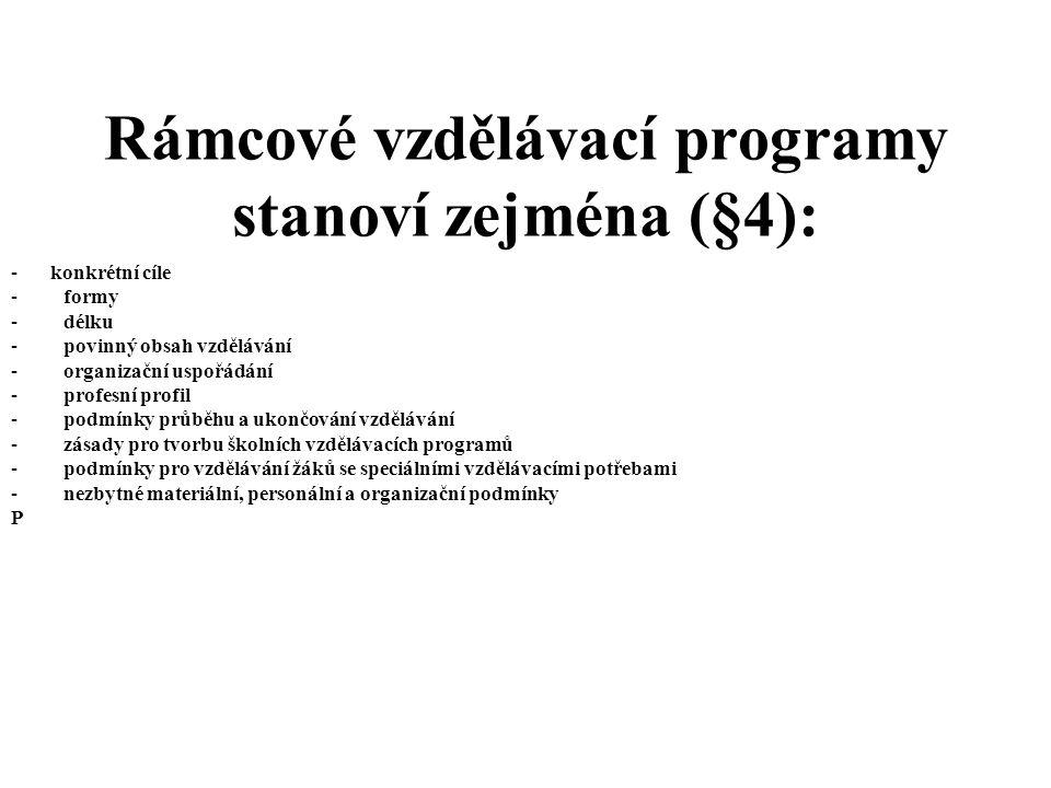 Rámcové vzdělávací programy stanoví zejména (§4):