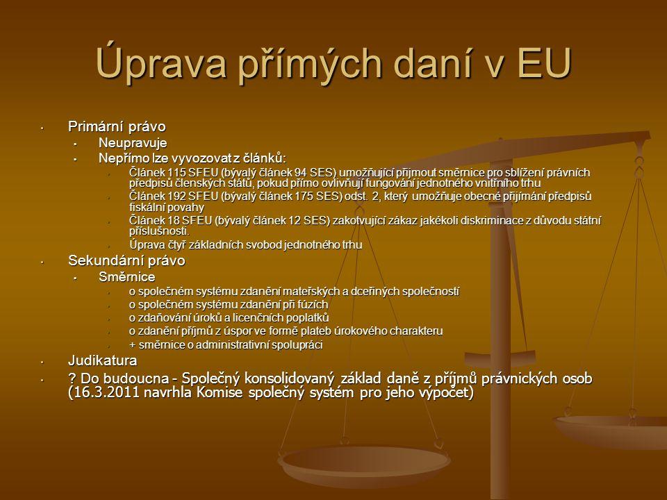 Úprava přímých daní v EU